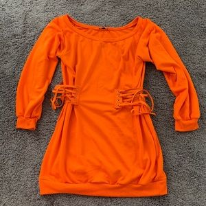 Fashion nova curve orange off shoulder dress